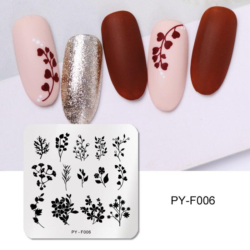 PICT YOU uña cuadrada placas de estampado de flores arte de uñas placa de imagen plantillas de sello de acero inoxidable herramientas PY-F006