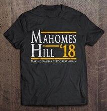 Camiseta de hombre Mahomes Hill 18 haciendo Kansas City Great Again Version2 camiseta de mujer
