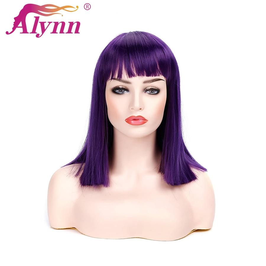 Alynn curto reta bob peruca com franja plana roxo escuro natural olhando cabelo sintético resistente ao calor cosplay perucas para mulher