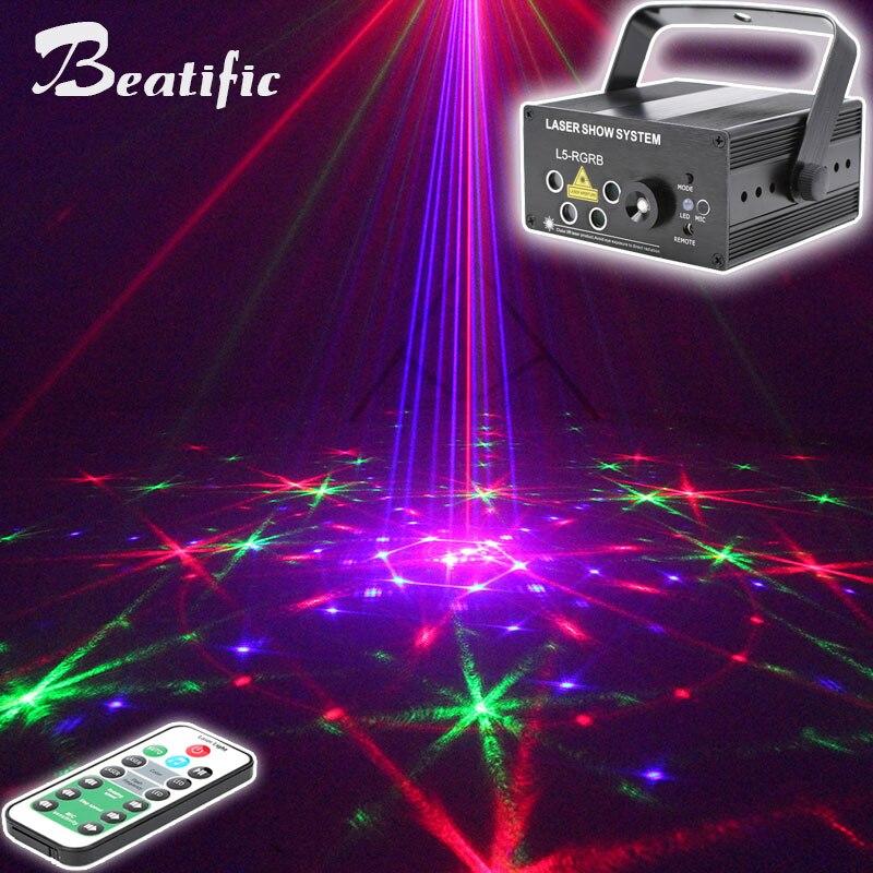 Proyector de espectáculo de láser de discoteca LED, luces de fiesta de sonido para el hogar, lámpara para discotecas, Bar, DJ, Lumiere, 96 patrones
