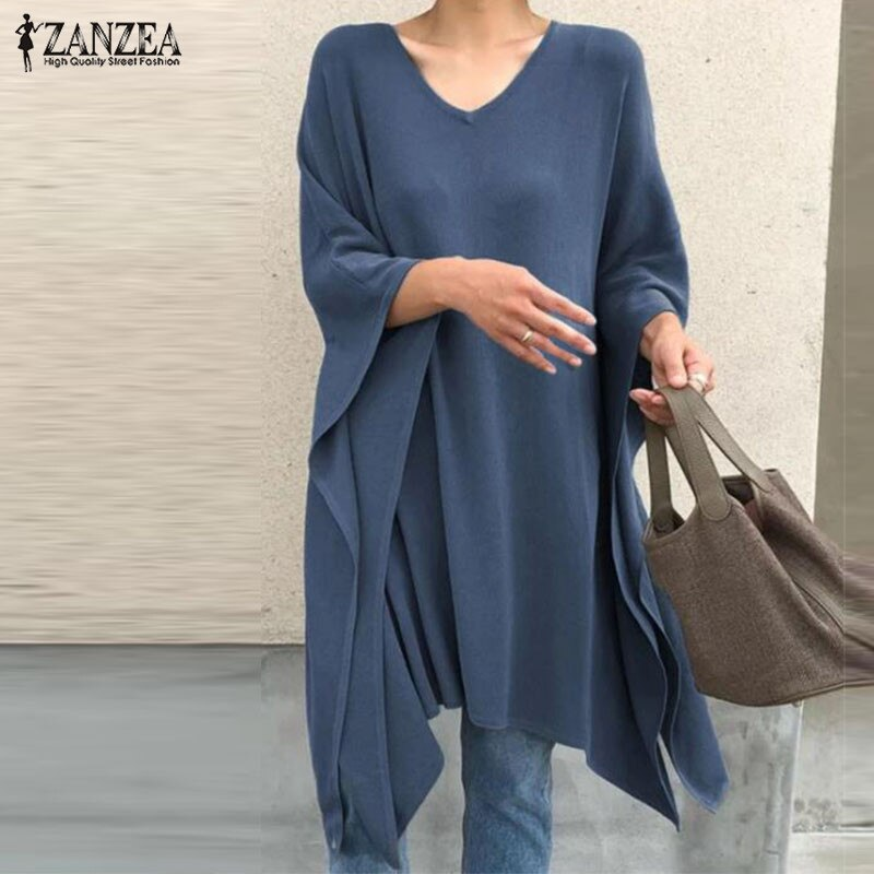 2020 ZANZEA moda cuello en V Blusas Mujer Irregular blusa primavera Casual 3/4 manga Blusas Poncho mujer capa Poncho 5XL túnica
