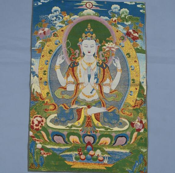 Brocado, pintura, seda, bordado elegante, budas ocultas, Thangka, Dinastía Tang, cuatro brazos, loto, Guanyin