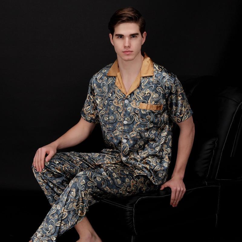 Silk Mens Stain Pajama Set Modern Summer Short Sleeve Sleepwear Men Nightgown Lounge Sleep Wear Nightwear Suit Sleep Top Bottoms