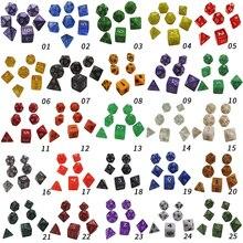 25 farben 7 teile/los Würfel Set D4, D6, D8, D10, D10 %, D12, d20 Bunte Zubehör Für Bord Spiel, DnD, RPG