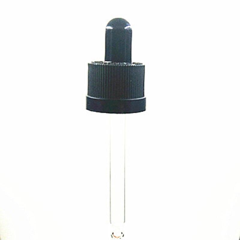 18-410 conjunto de tapa de gotero de plástico negro a prueba de niños con bombilla de goma y pipeta de vidrio X10