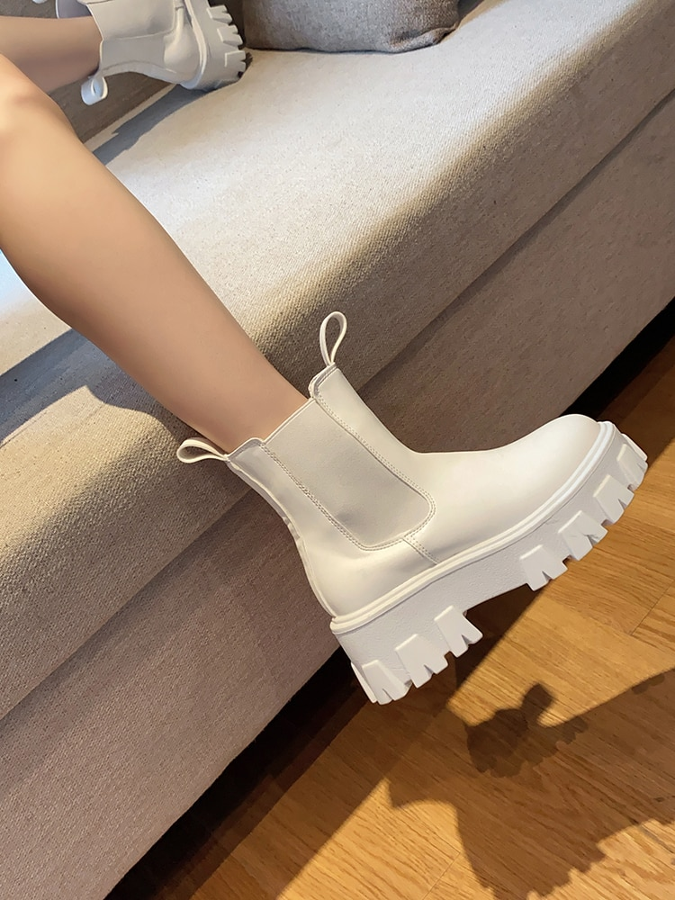 New Chunky Boots Fashion Pocket Platform Boots Women Ankle Boots Female Sole Pouch Ankle Boots Women Botas Mujer prowow new high quality genuine leather lace up women winter boots sexy platform boots chunky heel boots botas mujer