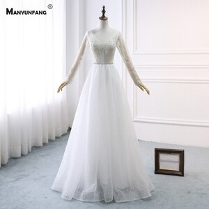 100% Real Full Sleeve Backless Sweep Train A-Line Wedding Dress for Women 2021 New Arrival V-Neck Lace Appliques Bridal Gown