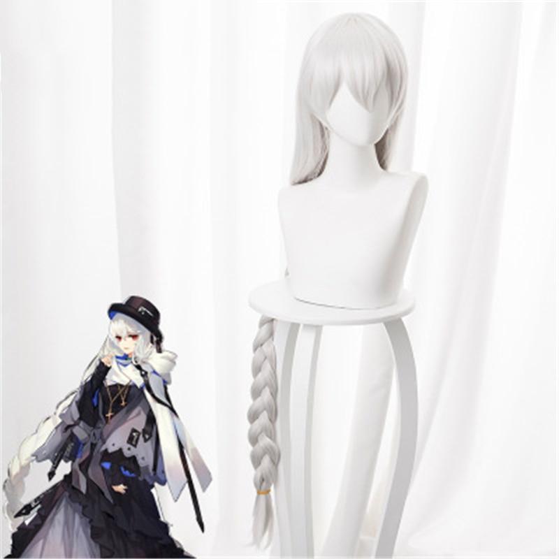Juego de Anime Arknights Cosplay Specter pelucas de disfraz para adultos, peluca trenza sintética trenza de plata largos de color blanco