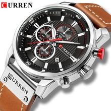 New Watches Men Luxury Brand CURREN Chronograph Men Sport Watches High Quality Leather Strap Quartz