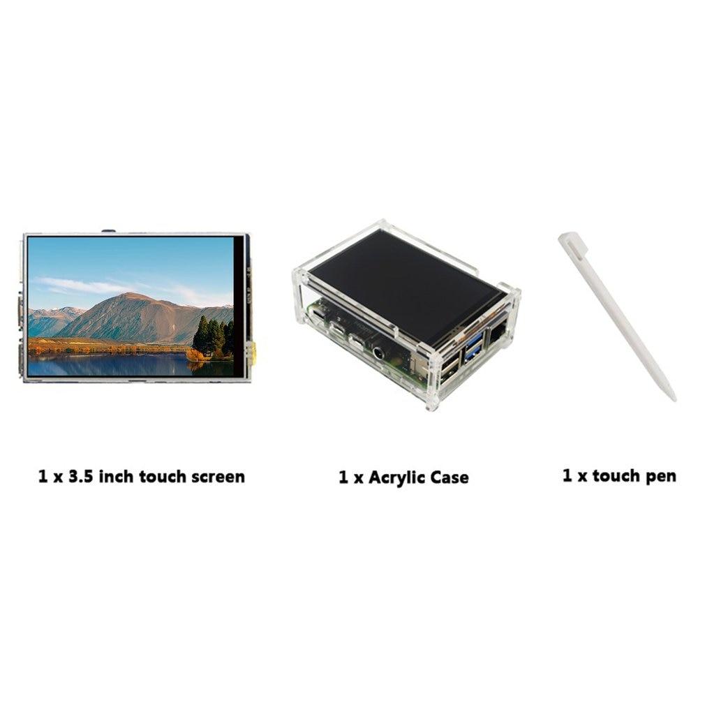 Para Raspberry Pi 4 Modelo B pantalla táctil LCD de 3,5 pulgadas + lápiz táctil + funda acrílica transparente 50 FPS SPI alta tasa de actualización