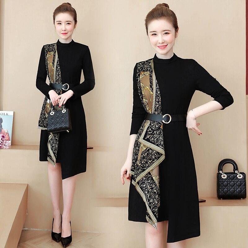 Vestido grande de talla grande L-5XL para mujer primavera otoño XXXL 3XL XXXXL 4XL cinturón Floral Patchwork suelto para fiesta vestidos Casual ropa
