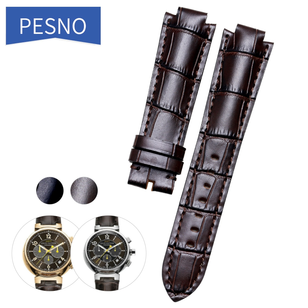 Pesno adequado para lv pele de bezerro couro genuíno relógio banda camada superior pulseira de relógio de couro masculino acessórios