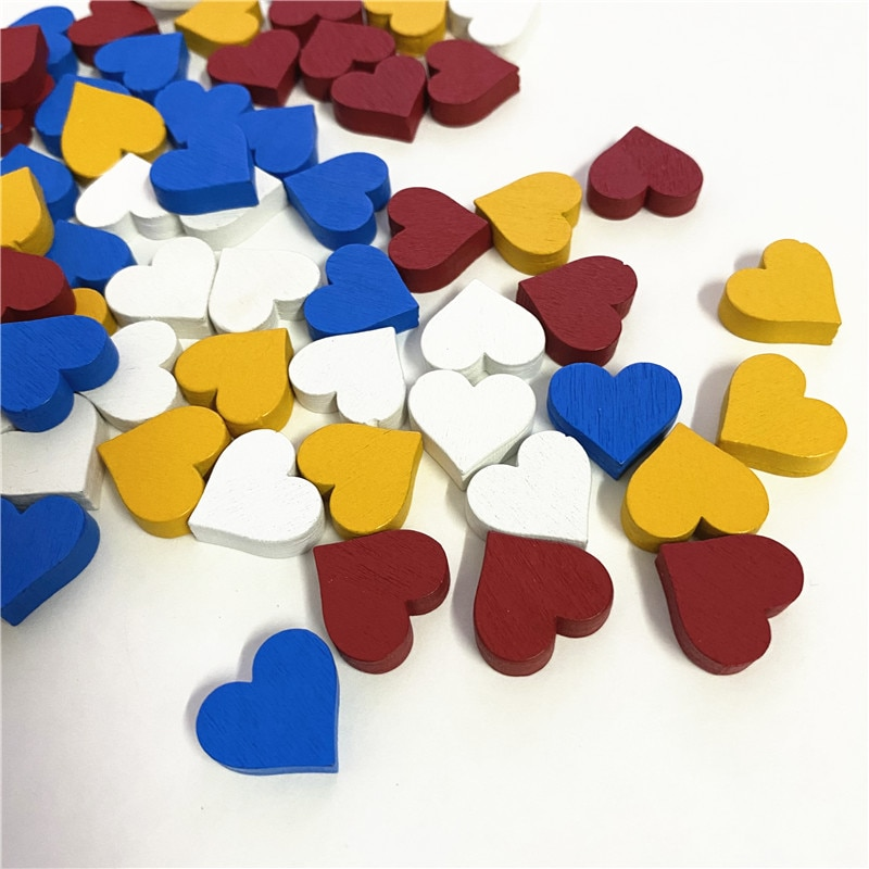 40Pcs 15mm*5mm Heart Shape Pawn Wood Chessman Game Pieces For Token Board Accessories
