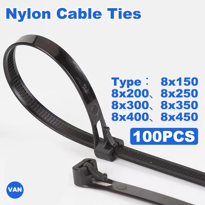 100PCSReleasable nylon cable ties  8*150/200/250/300/400/450may loose slipknot tie reusable packaging Plastic Zip Tie wrap Strap