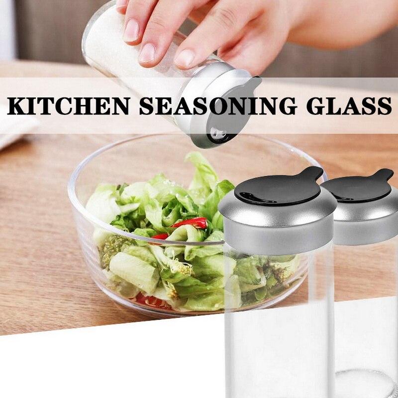 Gadgets de cocina de vidrio transparente, agitador de especias, pimienta, tarro de especias, tapa giratoria, condimento, botella de sal, azúcar