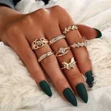 Luxus Weibliche Blatt Kleine tiere Ring Set Vintage Blatt Blume Ring vertraglich student schmücken artikel geschenk 7 Stück Set #10