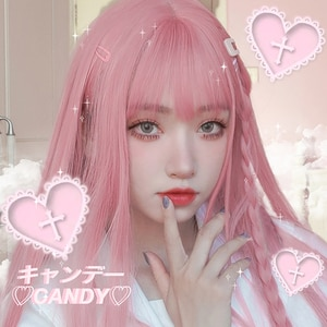 HUAYA Long Straight Pink Wig With Bangs Heat Resistant Synthetic Hair Girl Halloween Lolita Cosplay Wig or Daily Party FalseHair