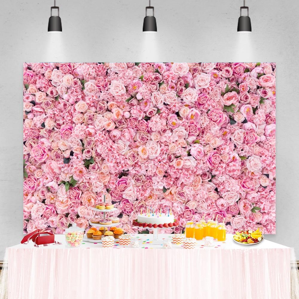 Laeacco Wedding Photophone Birthday Newborn Baby Shower Backgrounds Pink Flowers Roses Kids Portrait Photography Backdrops Props