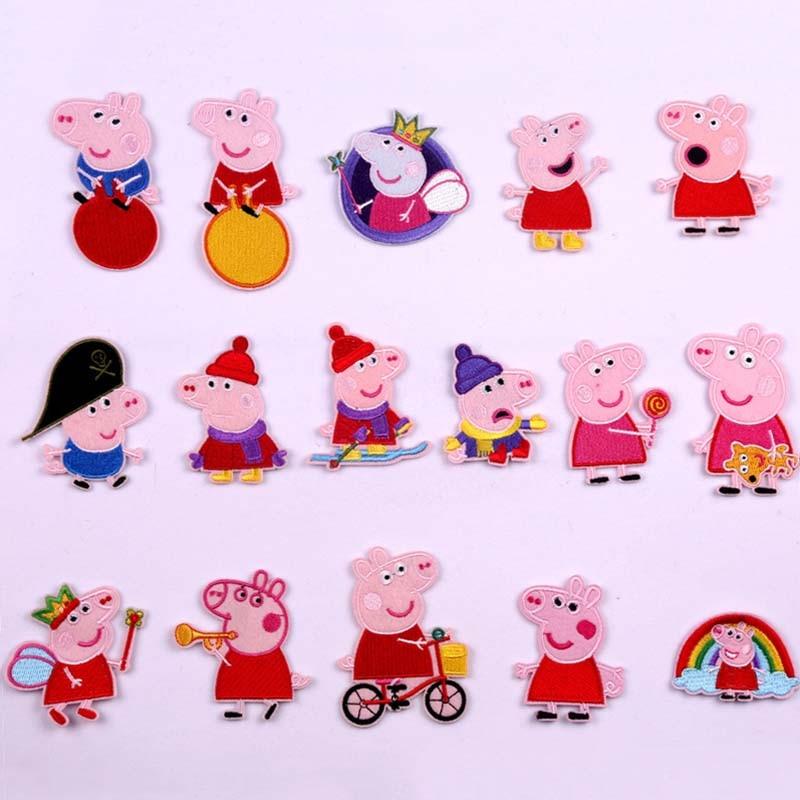 7CM nuevo Peppa Pig bordado figuras de dibujos animados Anime George paño parche Ropa Accesorios Niño cumpleaños juguetes regalo