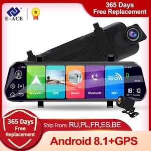 E-ACE 2K Автомобильный видеорегистратор 10 дюймов потоковое зеркало заднего вида 4G Android видеорегистратор FHD 1080P видеорегистратор ADAS регистратор...