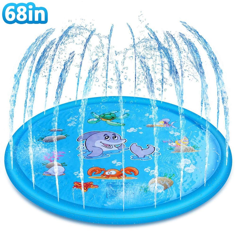 Live splash matte, 68-zoll kinder und hund sprinkler, sommer outdoor aufblasbare wasser spielen matte, hinterhof brunnen wasser spielen spielzeug