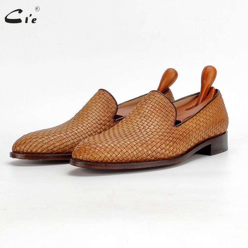 Cie اليدوية متعطل المنسوجة محبوك الجلود وحيد أحذية للرجال الأحذية الاجتماعية الذكور الأحذية الكلاسيكية الرجال أنيقة رجالي موضة متعطل 212