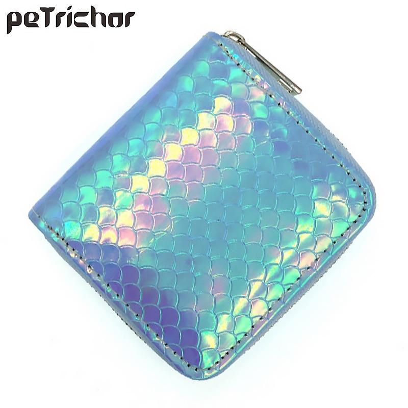 aliexpress.com - Fashion Laser Shine Women Mini Wallet Brand Cute Female Wallet Small Card Holder Zipper Coin Pocket Ladies Short Purse Mermaid