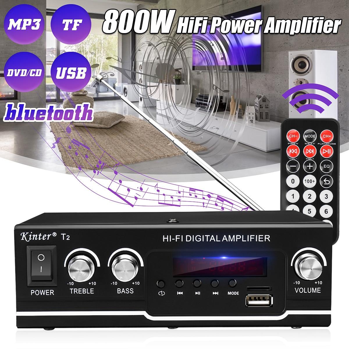 Amplificador DE 800W de potencia HIFI con Bluetooth para cine en casa...