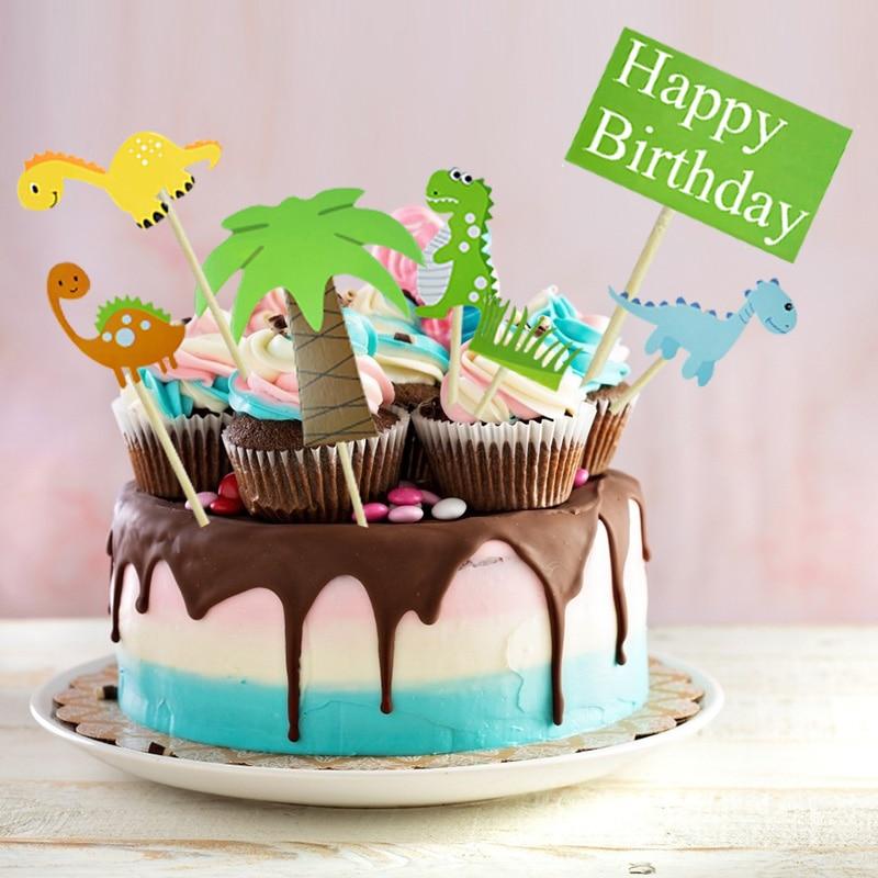 1 Set Dinosaur Cake Topper Happy Birthday Paper Cupcake Topper For Kids Boys Birthday Jurassic World Theme Party Dessert Decor