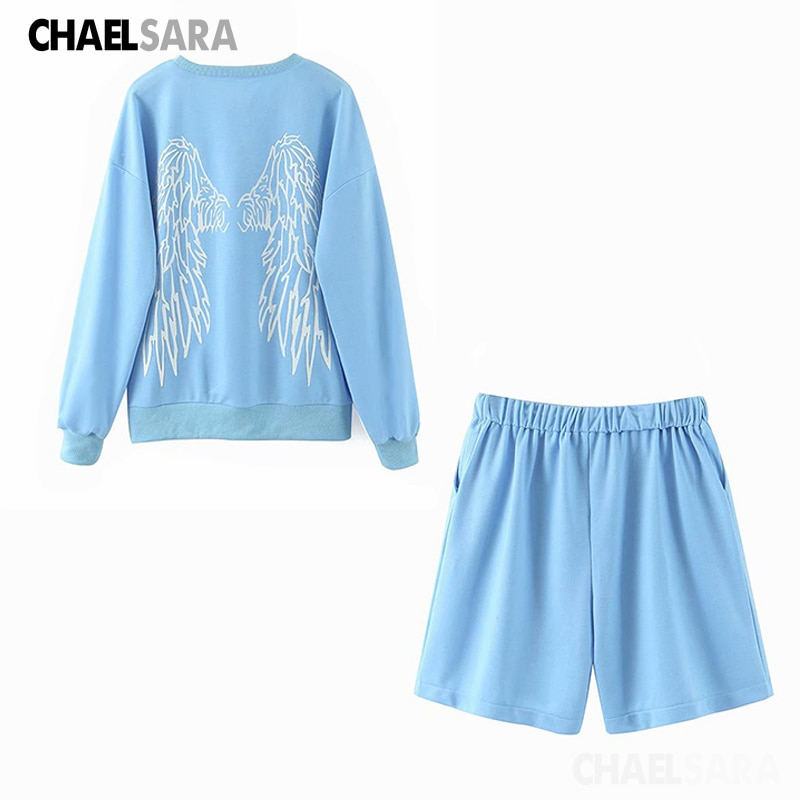 2020 Spring Autumn Tracksuit Set Women Print Pullover Sweatshirt+Elastic Shorts  2 Piece Ladys Casual Loose Sporting