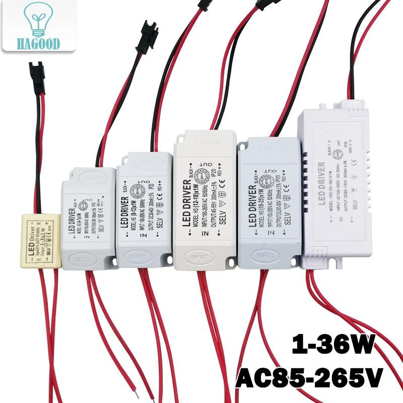 Transformador de fuente de alimentación LED de 1-36W, adaptador de unidad de AC85-265V con corriente constante incorporada de 300MA para focos LED