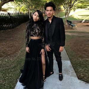 New African Long Sleeves Evening Dress Lace 2 Piece Black Sexy A Line Tulle Formal Dress  Side Split Evening Graduation Party