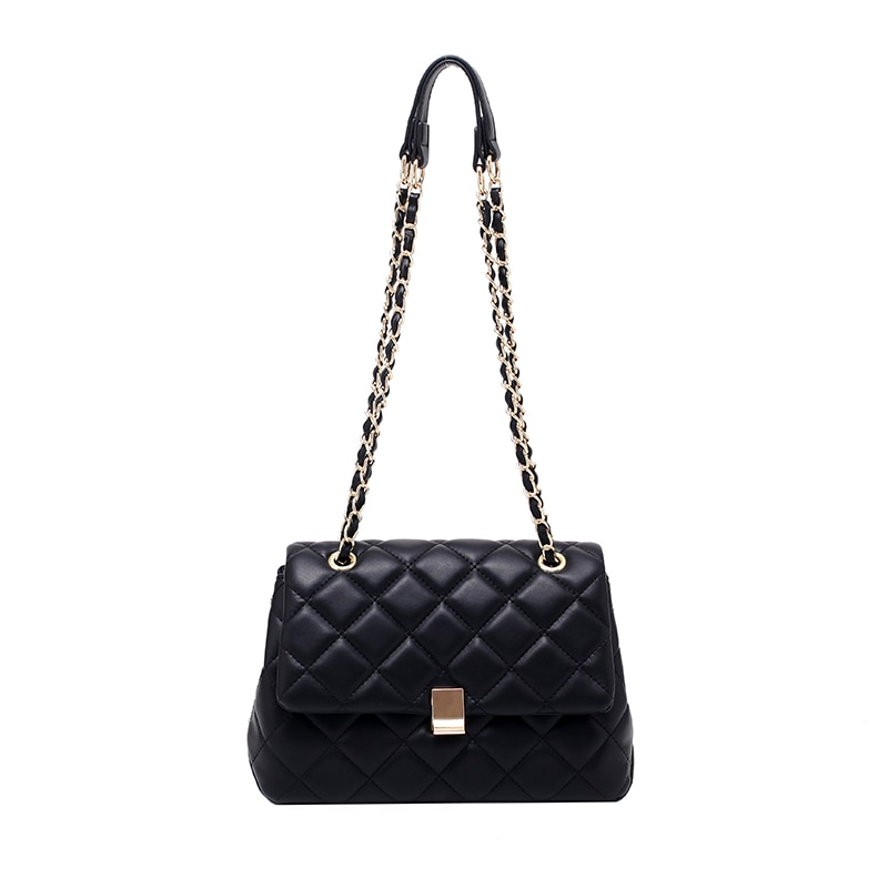 Casual Lingge PU Leather Lady Messenger Bag Exquisite Chain Travel Lady Shoulder Bag Brand Popular H