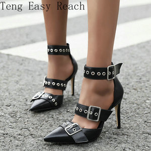 2021 Summer Shoes Women Fashion Buckle Pointed Toe High Heels Women Thin Heel Party Pumps Black White Zapatos De Mujer