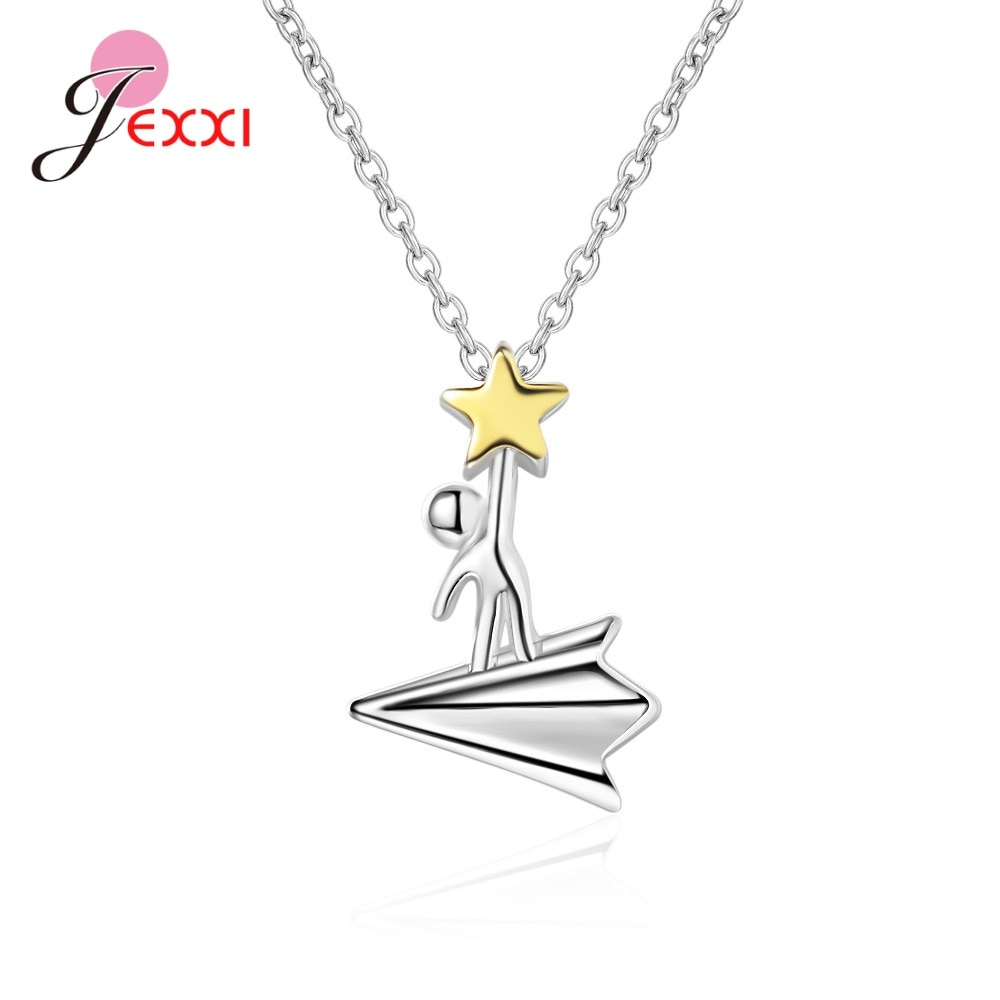 Fashion Simple Sweet Paper Airplane Star Pendant Necklace Women Charm Short Clavicle ins Jewelry Gift