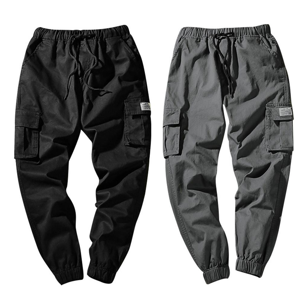 Men Casual Wear-resistant Large Size Ankle-tied Drawstring Cotton Pants Trousers Pantalon Homme Military Cargo Pants Leggings