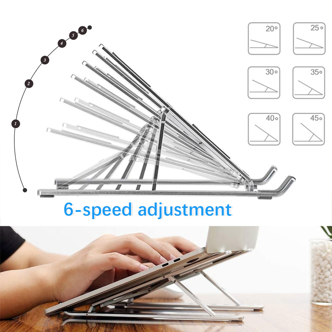 Hollow laptop stand, easy to dissipate heat, easy to fold, non-slip and stable