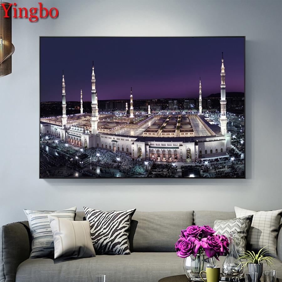 New Arrivals DIY 5d Diamond Embroidery Islamic Muslim Mosque Decorative Diamond Painting Mosaic Square/Round Stones