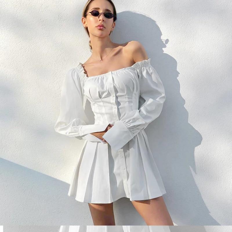 BeeHouse-minivestido blanco de manga larga para mujer, vestido femenino con hombros descubiertos...