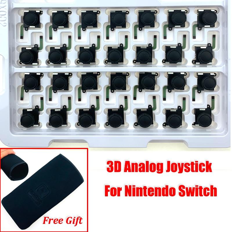 10PCS Replacement 3D Analog Joystick Thumb Stick Joystick Sensor Module For Nintend Switch NS Controller +Free gift soft Bag