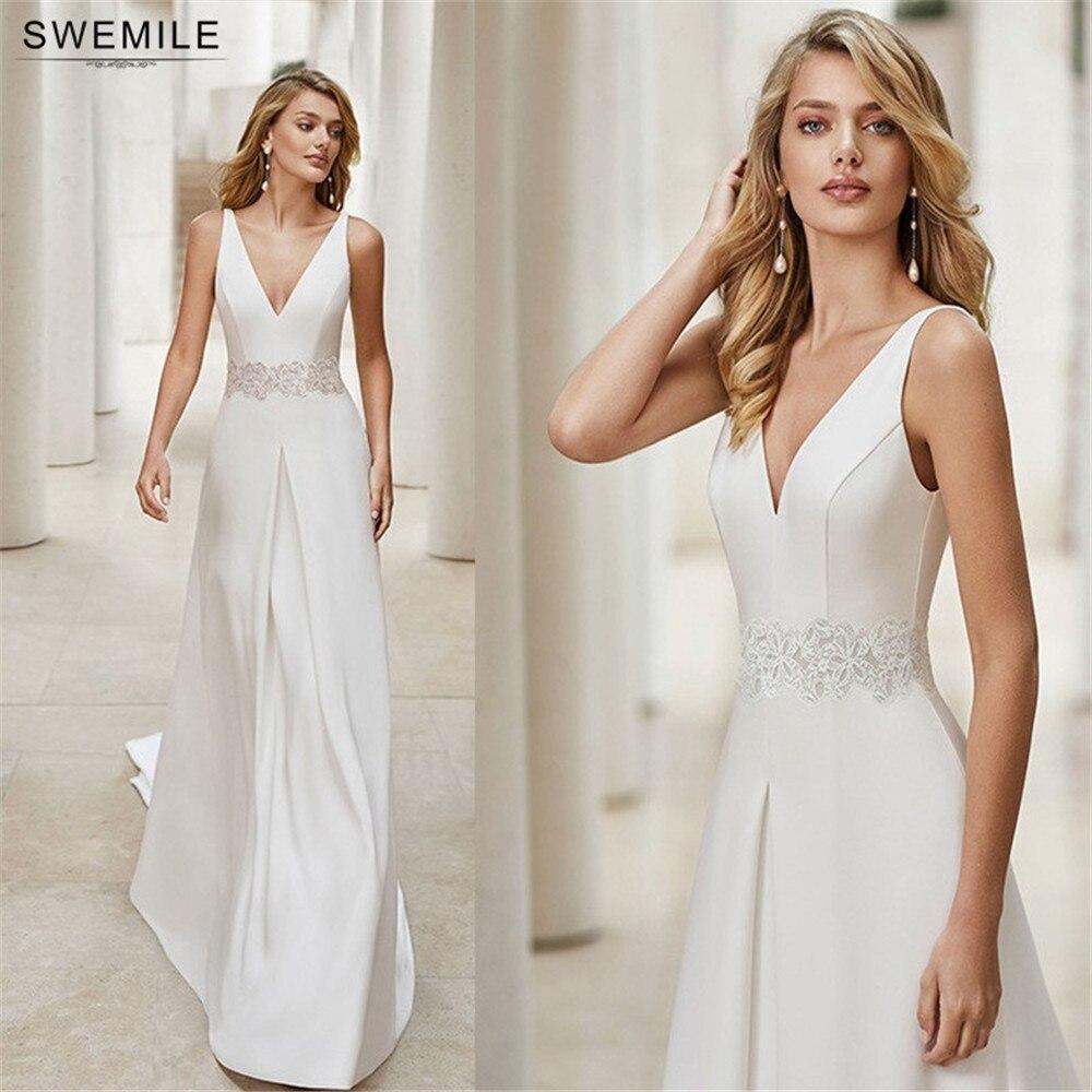 أبيض بسيط الساتان الدانتيل فساتين الزفاف أنيقة الخامس الرقبة تانك الأكمام فستان زفاف فستان حفلة للأميرات العروس ليكون ذيل قصير