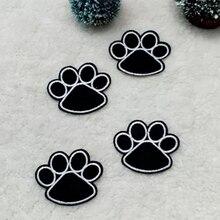 1PC noir chien patte impression forme broderie repassage patchs autocollant pour bricolage vêtements décoration Patch réparation environ 5.1x4.2cm