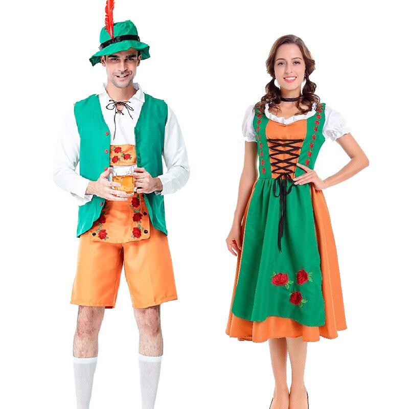 Baviera Oktoberfest parejas juego de traje Múnich carnaval traje para adultos para hombre y mujer Lederhosen Folk Festival vestido Dirndl