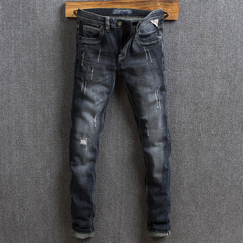 Модные мужские джинсы в итальянском стиле ретро черные синие зауженные рваные джинсы для мужчин Высокое качество винтажные Дизайнерские п...