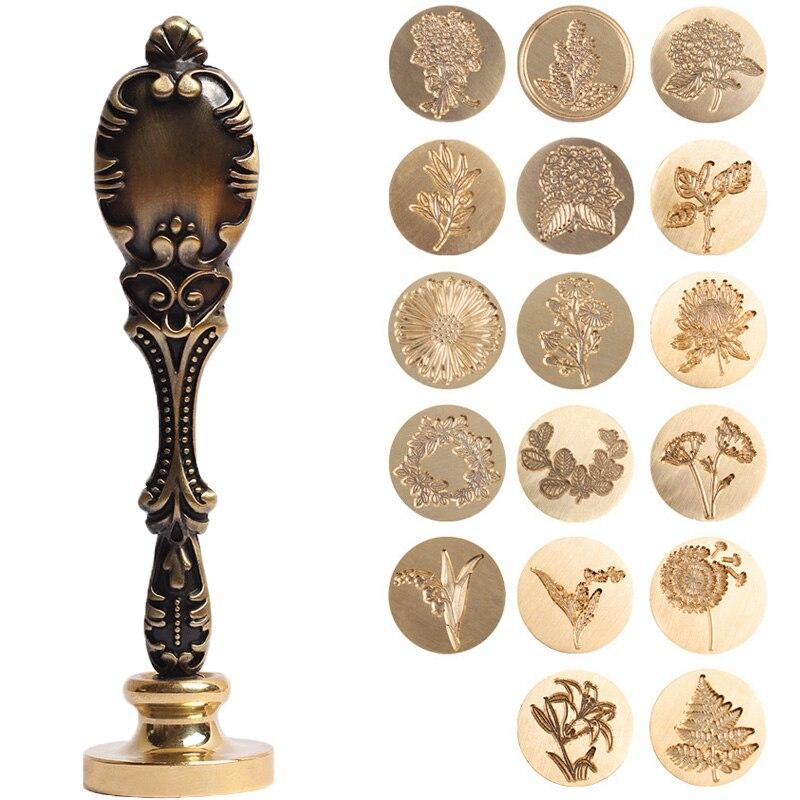 1 Pza Retro antiguo Metal planta sello de cera sello para DIY boda decoración de invitaciones antiguo sello artesanal de cera