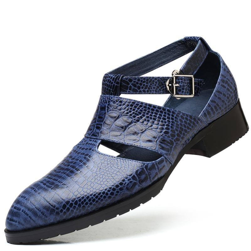 جديد رجل جودة عالية جلد طبيعي الصنادل أشار تو مشبك فستان صيفي أحذية الرجال الأعمال الترفيه حذاء كاجوال رجل صندل