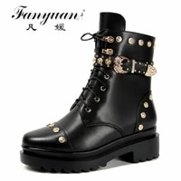 fanyuan fashion rivet women martin boots metal buckle punk patent leather womens goth shoes ankle classical lace zip size 34 39