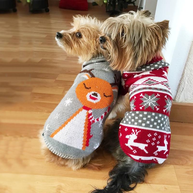Мультяшный щенок, свитер, зимняя теплая одежда для маленьких собак, Рождественский костюм, пальто чихуахуа, трикотажная вязаная одежда, трикотаж