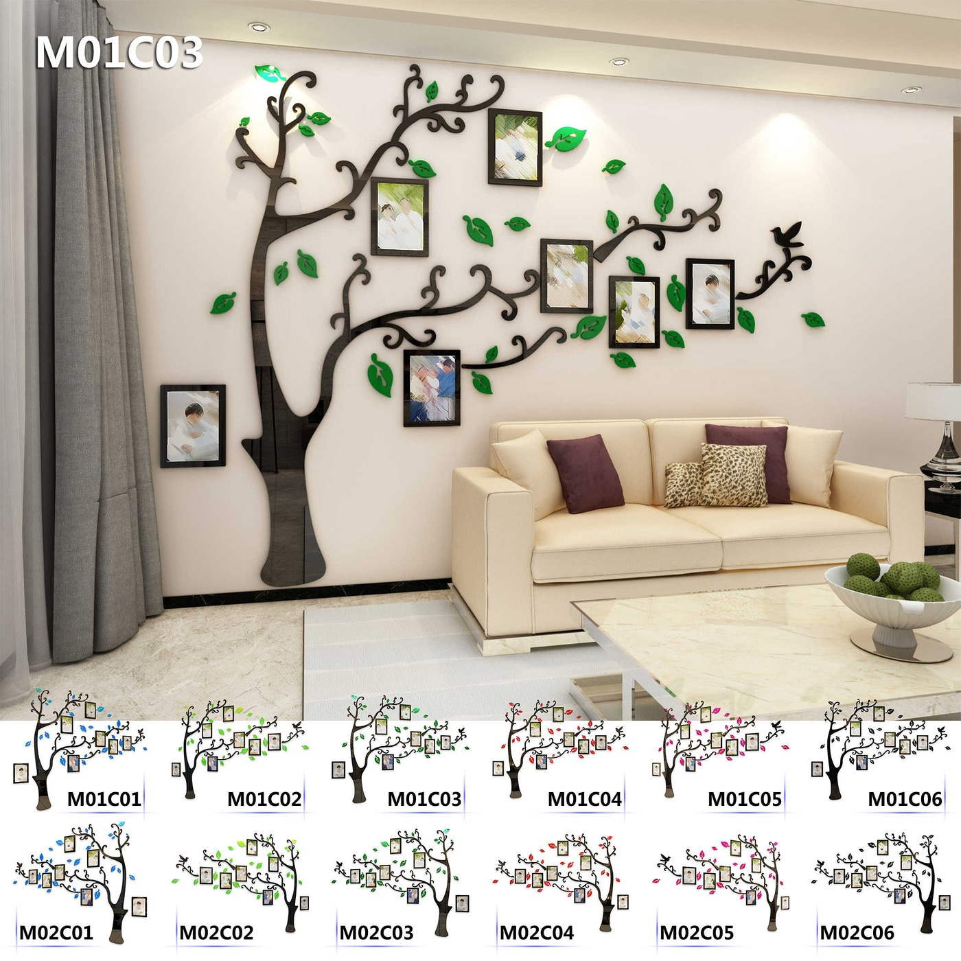 Kinds Photo Gallery Frame Family Tree Acrylic Wall Sticker Vinyl Living Room Kids Room Party Wedding DIY Home Decor