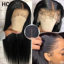 Middle Part Lace Wig 30inch T Part Straight Lace Part Wig 13*1 Remy Brazilian Straight Human Hair Wi